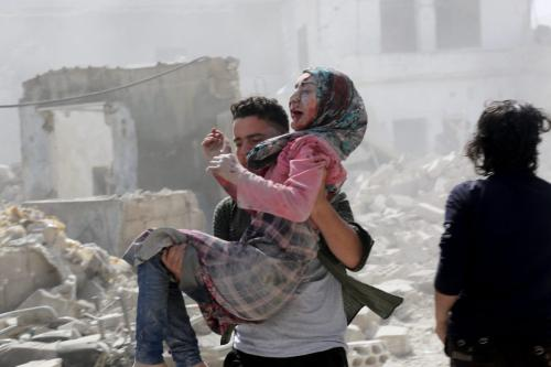 Injured air attack victims are being evacuated following air attacks of Bashar al-Assad regime and its supporters on Idlib de-escalation zone's Maar Shurin district, Syria on 10 June 2019. [İzeddin İdlilbi - Anadolu Agency]