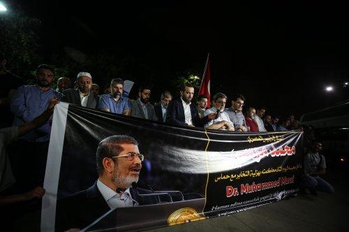 People perform funeral prayer in absentia for former Egyptian President Mohamed Morsi in Istanbul, Turkey on 17 June 2019 [Onur Çoban/Anadolu Agency]