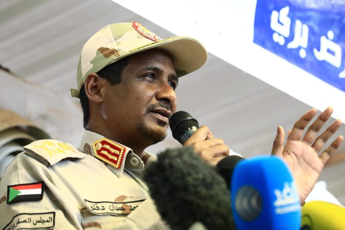 Sudanese General and Vice President of Sudanese Transitional Military Council, Mohamed Hamdan Dagalo in Khartoum, Sudan on 18 June 2019 [Mahmoud Hjaj/Anadolu Agency]