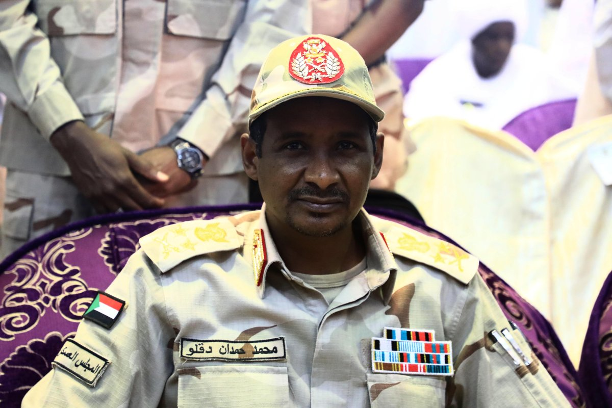 Sudanese General and Vice President of Sudanese Transitional Military Council, Mohamed Hamdan Dagalo is seen before his speech in Khartoum, Sudan on June 18, 2019. [Mahmoud Hjaj - Anadolu Agency]