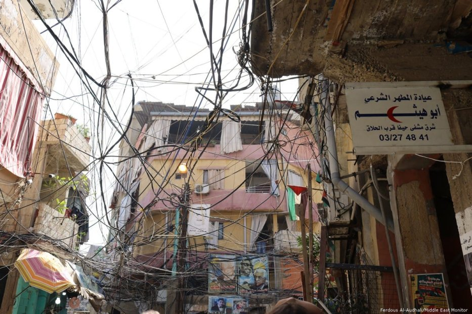 Tangled electricity wires snake over the entirety of Burj El-Barajneh camp