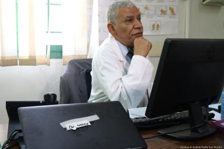 Dr. Nasr, doctor at an UNRWA primary healthcare clinic.