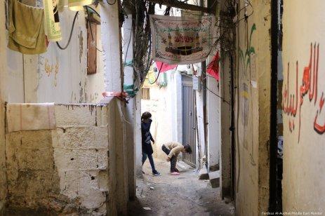 Two girls play in the alleyways of Burj El-Barajneh
