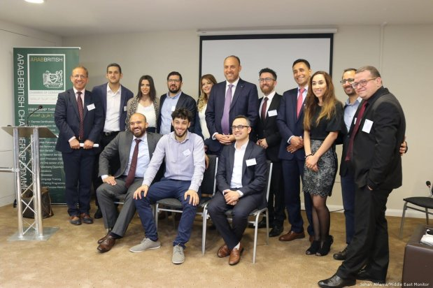Palestinian entrepreneurs pose for a photo at the Arab-British Chamber of Commerce in London, UK on 14 June 2019 [Jehan Alfarra/Middle East Monitor]