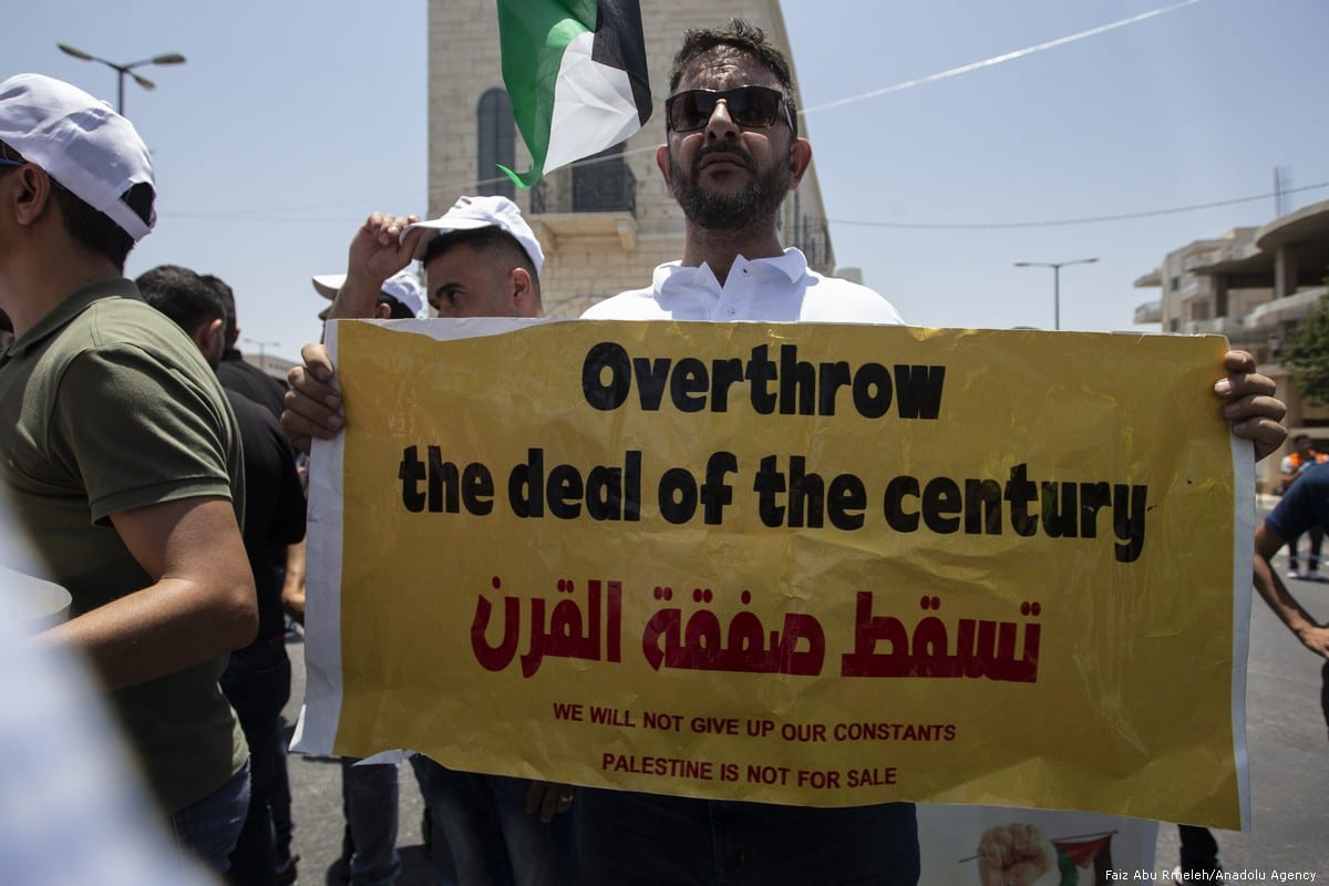 A protest against the US led conference 'Peace to Prosperity' in Bahrain, on 25 June 2019 in Bethlehem, West Bank [Faiz Abu Rmeleh/Anadolu Agency]