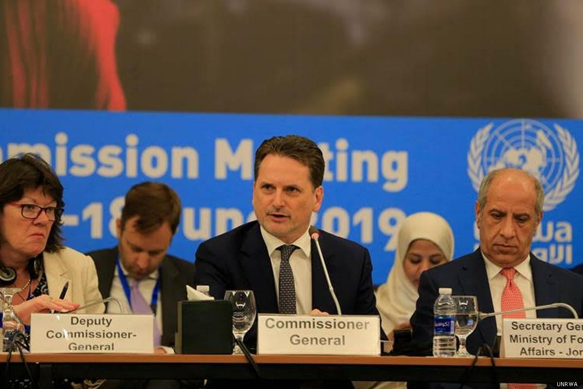 UNRWA Commissioner-General Pierre Krahenbuhl (C) is seen at the Advisory Commission of the United Nations Relief and Works Agency for Palestine Refugees in the Near East(UNRWA)in Jordan