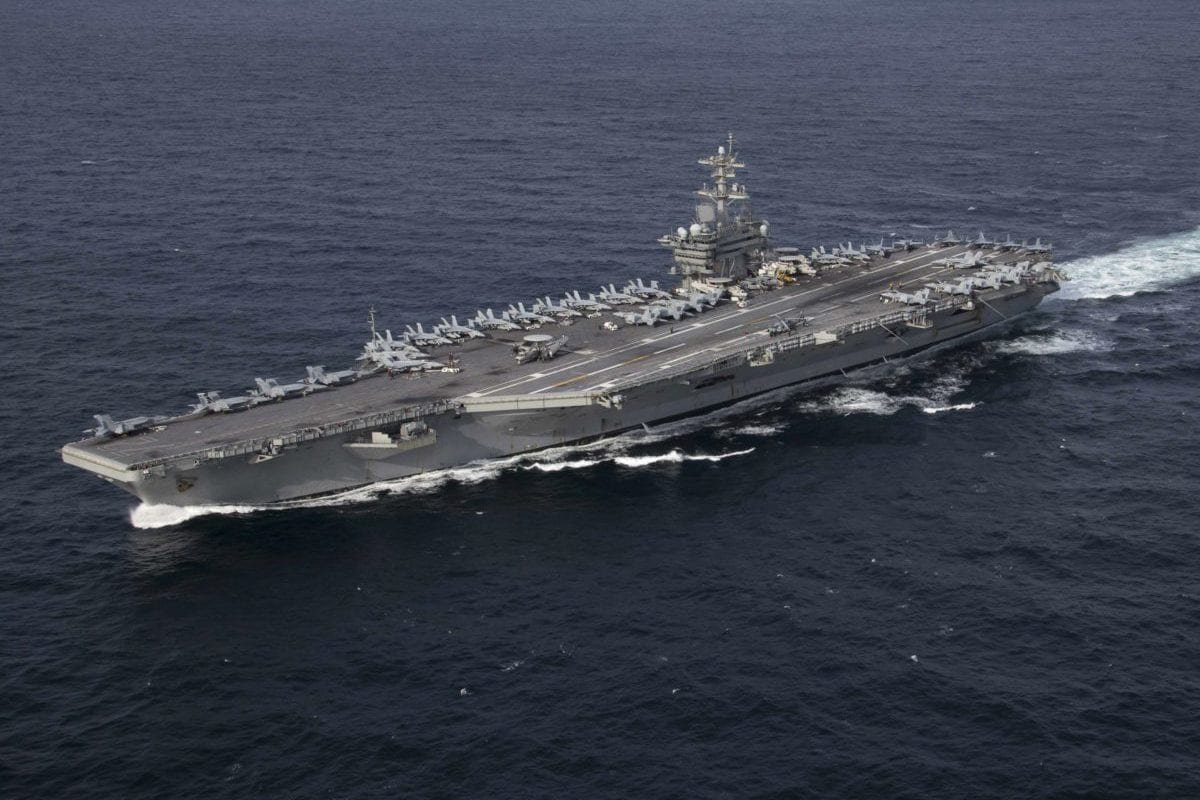 US Navy's Nimitz-class aircraft carrier USS Abraham Lincoln transits the Atlantic Ocean during a strait transit exercise [US Navy photo by Mass Communication Specialist 3rd Class Clint Davis/US DoD]