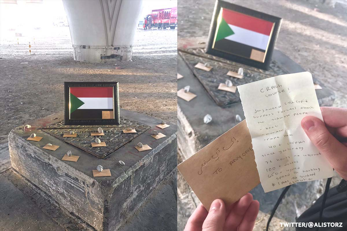 """Shrine to Sudan found underneath a bridge in the UAE designed to give whoever found it a """"crash course"""" on the atrocities taking place in the country in the UAE on 8 June 2019 [Twitter]"""