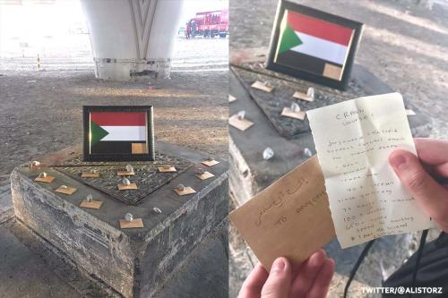 "Shrine to Sudan found underneath a bridge in the UAE designed to give whoever found it a ""crash course"" on the atrocities taking place in the country in the UAE on 8 June 2019 [Twitter]"