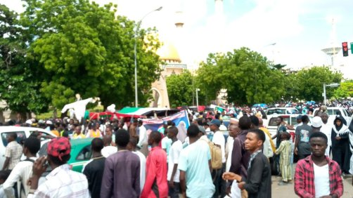 Thousands gathered in the Nigerian capital, Abuja, on May 31, 2019, to protest Israel's occupation of Palestine and the Buhari government's warming relations with Israel [Afro-Palestine Newswire Service]