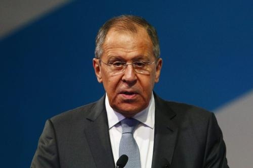 "Russian Foreign Minister Sergei Lavrov makes a speech during the 2nd International Forum ""Development of Parliamentarism"" in Moscow, Russia on 1 July 2019. [Sefa Karacan - Anadolu Agency]"