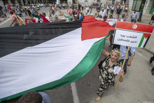 """Demonstrators gather to protest against """"Bahrain Workshop"""" and """"Deal of the Century"""" plan of USA in front of Tunisian General Labour Union's headquarter in Tunis, Tunisia on July 8, 2019 [Yassine Gaidi / Anadolu Agency]"""
