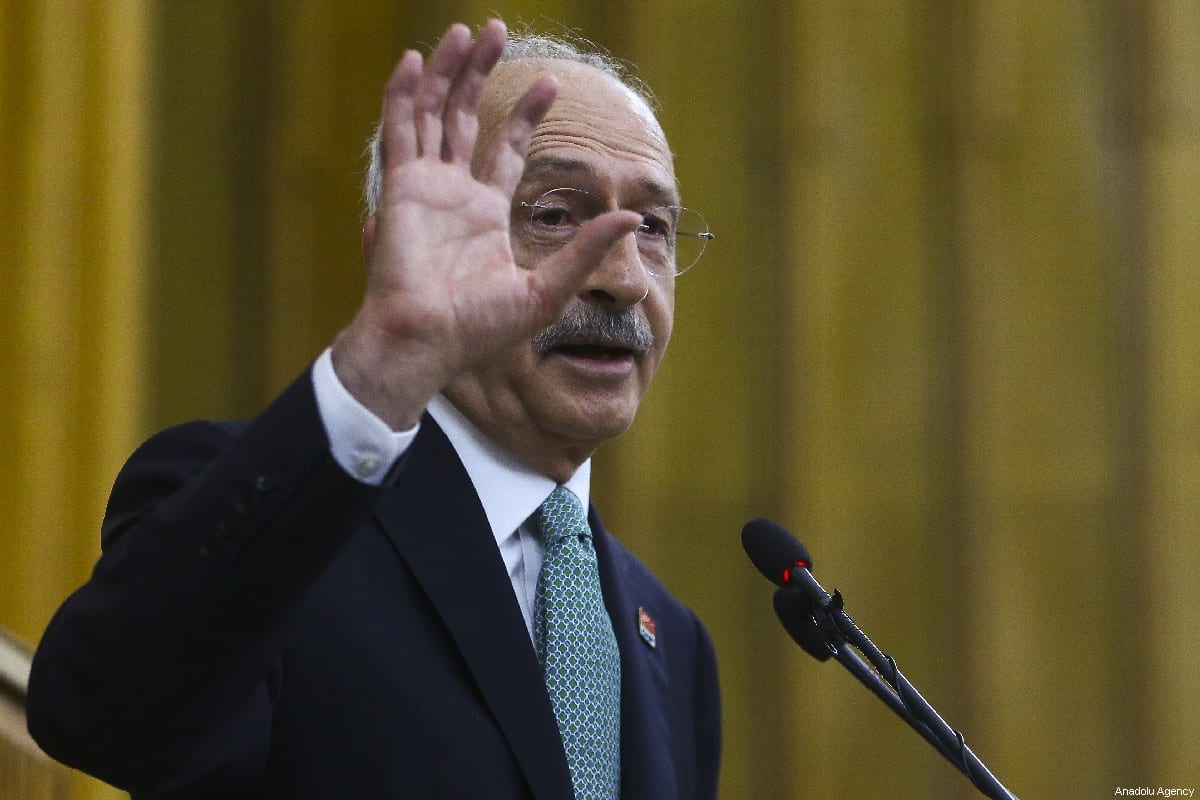 Chairman of the Republican People's Party (CHP) Kemal Kilicdaroglu addresses party members during his party's group meeting at the Grand National Assembly of Turkey (TBMM) in Ankara, Turkey on 9 July, 2019 [Erçin Top/Anadolu Agency]