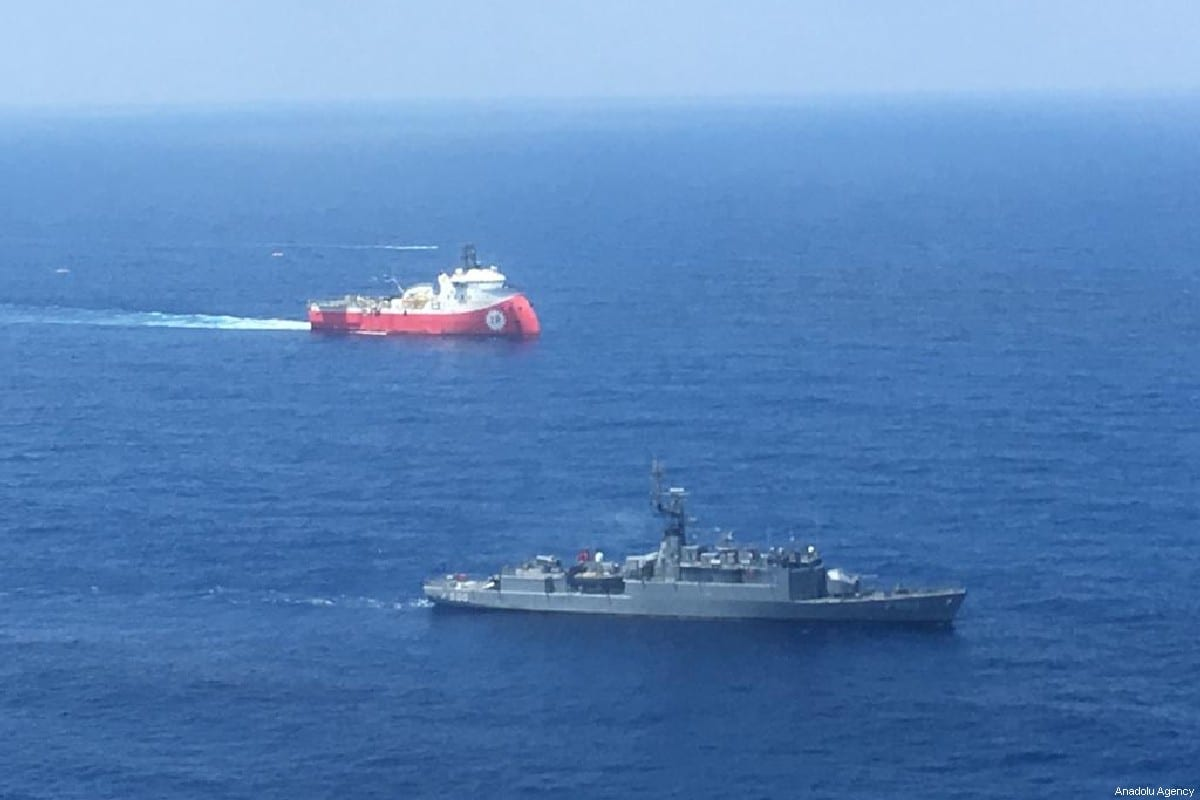 An aerial photo shows Turkish-flagged Seismic vessel Barbaros Hayreddin Pasa continue its operations to reveal the hydrocarbon in company with Turkish battleship in the west of the Island of Cyprus in the Mediterranean Sea on 11 July 2019. [Turkish National Defence Ministry / Handout - Anadolu Agency]