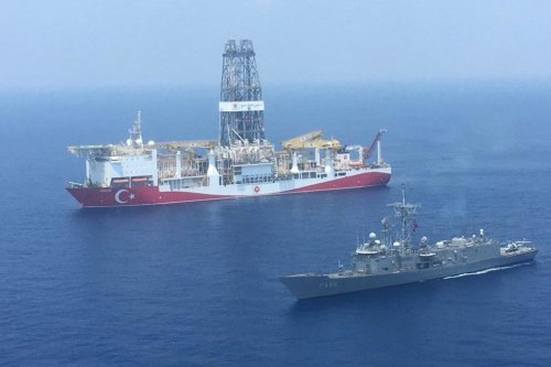 Turkish-flagged drill ship continue offshore drilling operations in Cyprus in the Mediterranean Sea on 11 July 2019 [Turkish National Defence Ministry/Anadolu Agency]