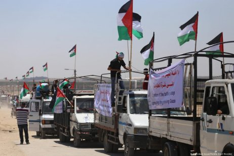 Palestinians in Gaza protest against the closures imposed by Israeli occupation on 22 July 2019 [Mohammed Asad/Middle East Monitor]