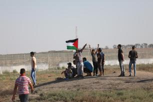 Hundreds of Palestinians converged near the Gaza-Israel buffer zone on Friday for ongoing protests since March of last year on 5 July 2019 [Mohammed Asad/Middle East Monitor]