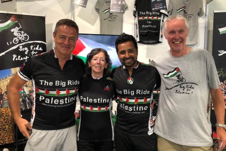 Big Ride volunteers at London's PalExpo, on 7 July 2019 [Middle East Monitor]