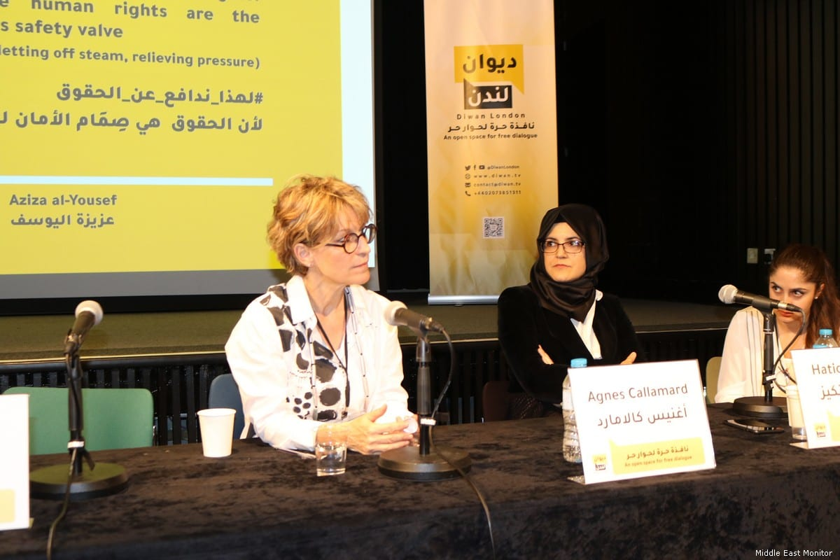 UN's extrajudicial executions investigator, Agnes Callamard (C), Karen Attiah, Khashoggi's fiancée Hatice Cengiz (L) and Yahya Assiri at an event for the late Saudi journalist. Saudi Journalist Jamal Khashoggi in London, UK on 9 July 2019 [Middle East Monitor]