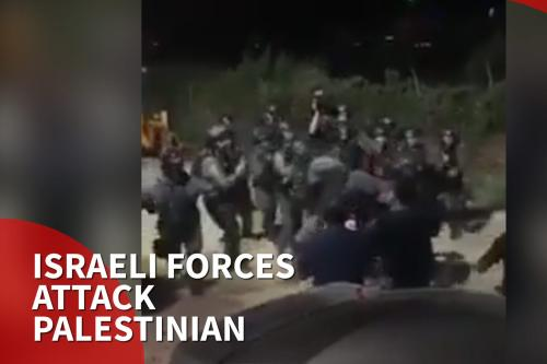 Thumnbail: Israeli soldiers beat young Palestinian protesting demolition of father's home
