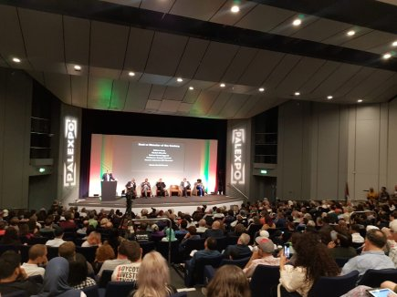 The audience seen during a panel in the main theatre of the Palestine Expo 2019 on 6 July 2019 in London, UK [Middle East Monitor]