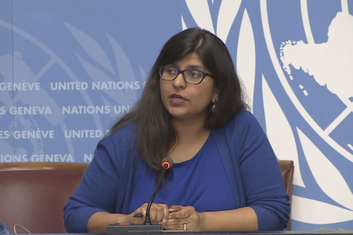 Ravina Shamdasani, spokesperson for the UN Office of the United Nations High Commissioner for Human Rights OHCHR) seen on May 11, 2018 in Geneva, Switzerland [screengrab / UNifeed]