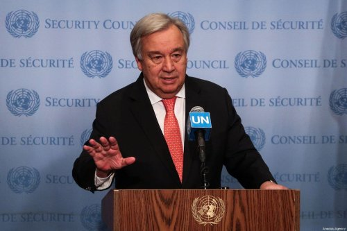 United Nations Secretary General Antonio Guterres holds a press conference at the United Nations Headquarters in New York, United States on 1 August, 2019 [Atılgan Özdil/Anadolu Agency]