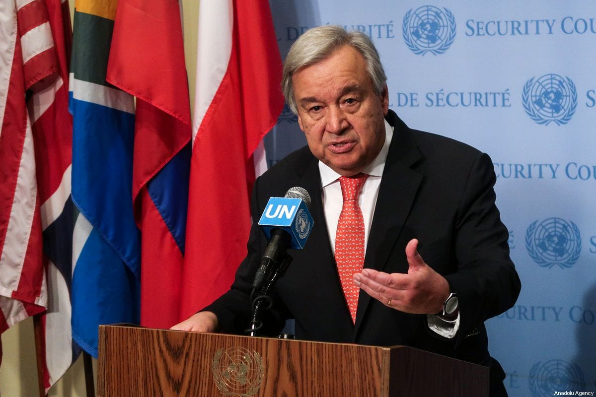 United Nations Secretary General Antonio Guterres holds a press conference at the United Nations Headquarters in New York, United States on August 01, 2019 [Atılgan Özdil / Anadolu Agency]