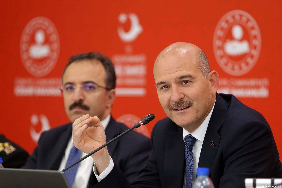 Minister of Interior of Turkey, Suleyman Soylu (R) and Ismail Catakli (L) in Ankara, Turkey on 2 August 2019 [Barış ORL/Anadolu Agency]