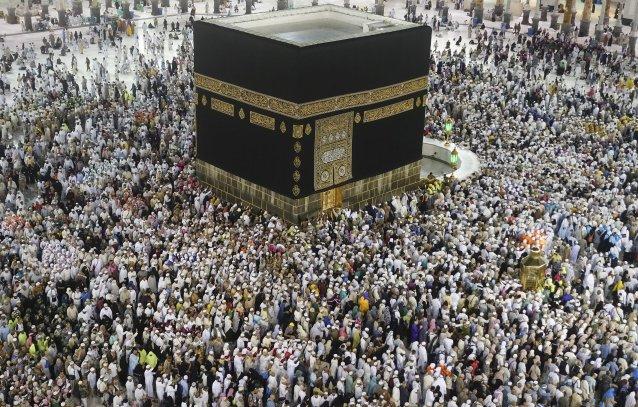 Muslim prospective Hajj pilgrims circumambulate the Kaaba at Masjid al-Haram in Mecca, Saudi Arabia on 12 August, 2019 [Halil Sağırkaya/Anadolu Agency]