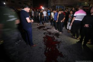 A view of the scene after a blast at a check point on Al Rasheed Street in Gaza City on 27 August, 2019 [Mohammed Asad/Middle East Monitor]