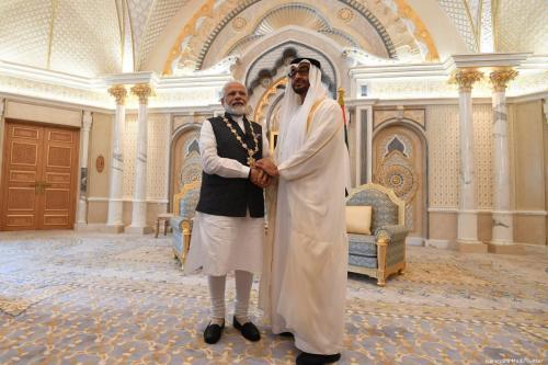 UAE Crown Prince Mohammed Bin Zayed (L) and India's Prime Minister in Abu Dhabi, UAE [Narendra Modi/Twitter]