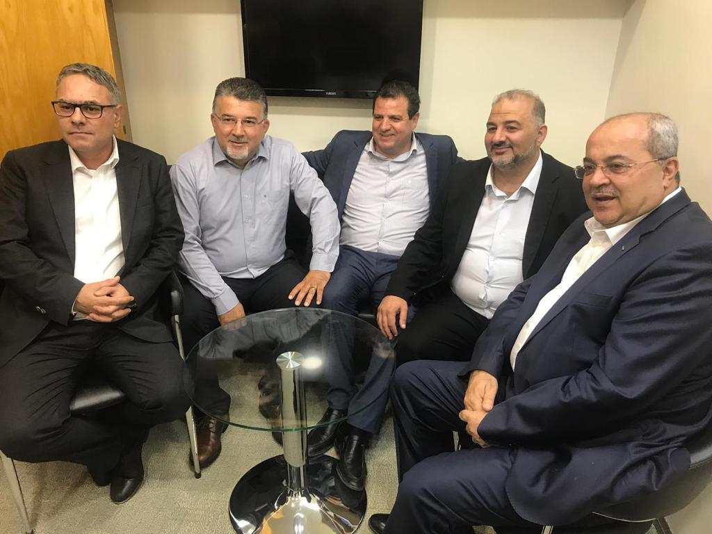 Members of Joint Arab list (L-R) Mtanes Shehadeh, Yousef Jabareen, Ayman Odeh, Mansour Abbas and Ahmad Tibi [MEMO]