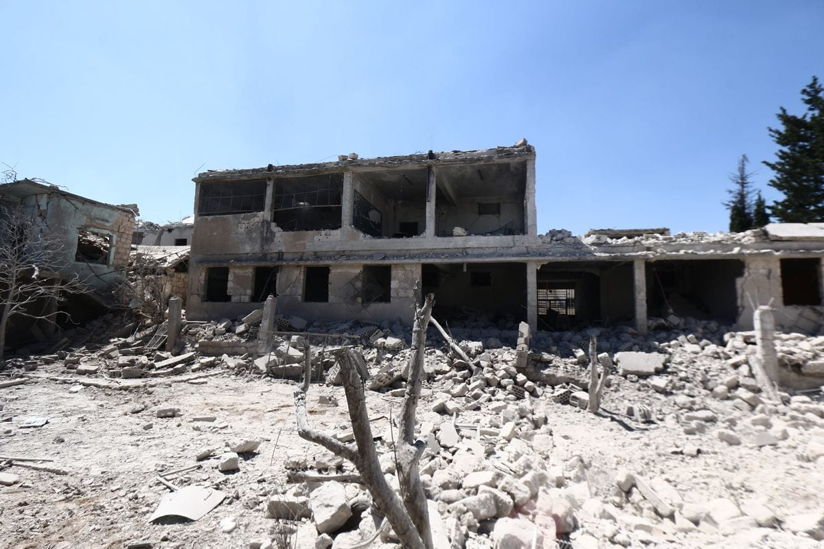 Debris of buildings are seen after Russian airstrike hit Idlib, de-escalation zone, Syria on 28 August 2019. [Muhammed Said - Anadolu Agency]