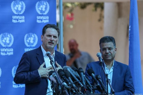 Commissioner General for the United Nations Relief and Works Agency (UNRWA) for Palestinian Refugees Pierre Krahenbuhl makes a speech during a press conference in Gaza City, Gaza on 27 August 2019. [Mustafa Hassona - Anadolu Agency]