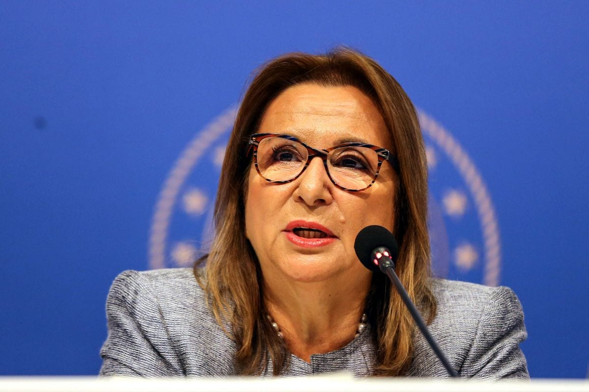 Trade Minister of Turkey, Ruhsar Pekcan makes a speech as she attends the launching meeting of 'Turkey's Export Master Plan' held at Swiss Hotel The Bosphorus in Istanbul, Turkey on 29 August 2019. [Şebnem Coşkun - Anadolu Agency]