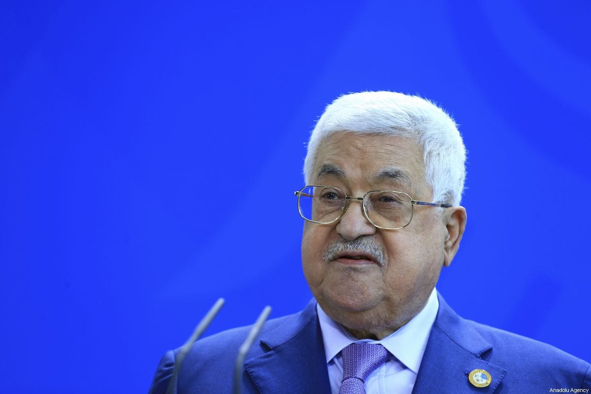 Palestinian President Mahmoud Abbas addresses a statement with German Chancellor Angela Merkel (not seen) before talks at the Chancellery in Berlin, Germany on 29 August, 2019 [Abdülhamid Hoşbaş/Anadolu Agency]