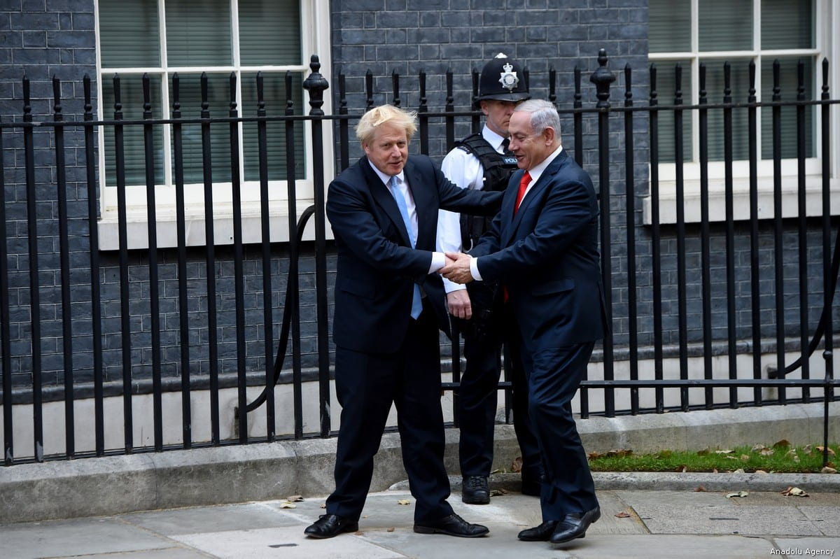 British Prime Minister Boris Johnson meets with Benjamin Netanyahu at No. 10 Downing Street, in London, United Kingdom on 5 September, 2019 [Kate Green/Anadolu Agency]