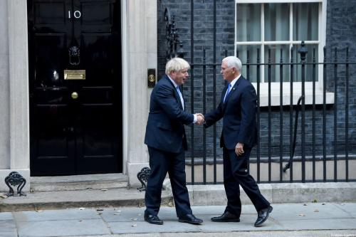British Prime Minister Boris Johnson (L) welcomes US Vice President Mike Pence (R) at No.10 Downing Street in London UK on 5 September 2019 [Kate Green/Anadolu Agency]
