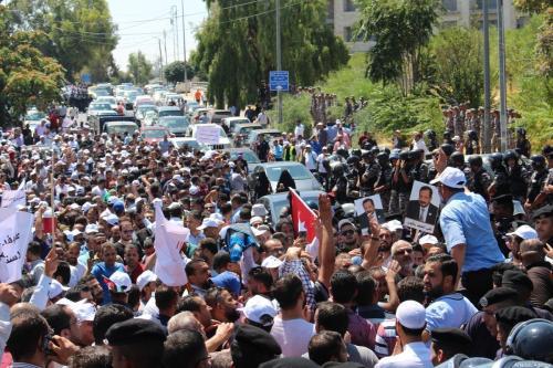 Thousands of Jordanian teachers gather near government headquarters, during a protest demanding a 50% hike in their salaries in Amman, Jordan on September 05, 2019 [Laith Joneidi / Anadolu Agency]