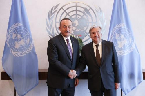 Foreign Minister of Turkey Mevlut Cavusoglu meets United Nations Secretary General, Antonio Guterres ahead of the 74th session of United Nations General Assembly in New York, United States on 20 September 2019. [Cem Özdel/Anadolu Agency]
