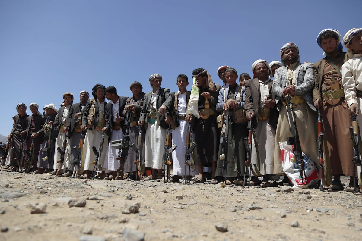 Supporters of Houthis participate in march on the occasion of the fifth anniversary of Houthis' control of the Yemeni capital Sanaa, on 21 September 2019. [Mohammed Hamoud - Anadolu Agency]
