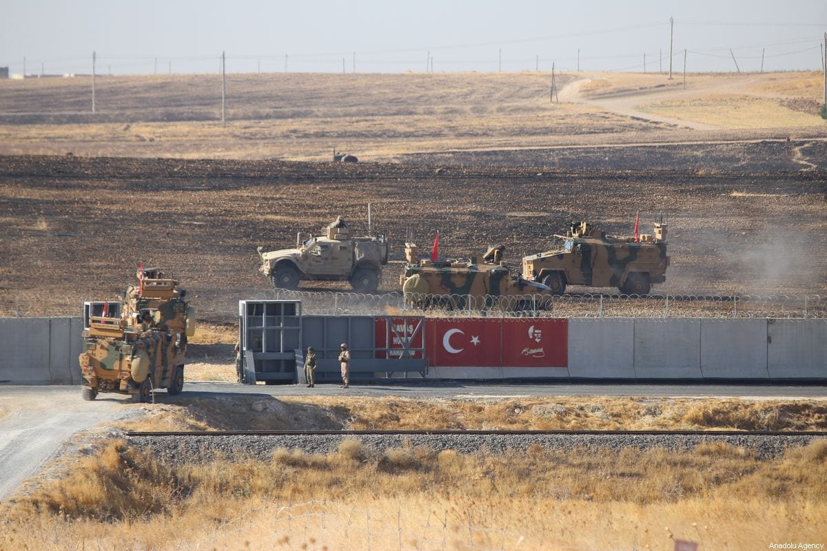 Armoured vehicles are seen as Turkey and the US start a joint ground patrols as part of efforts to establish safe zone east of Euphrates in Syria on 24 September 2019 [Emin Sansar/Anadolu Agency]