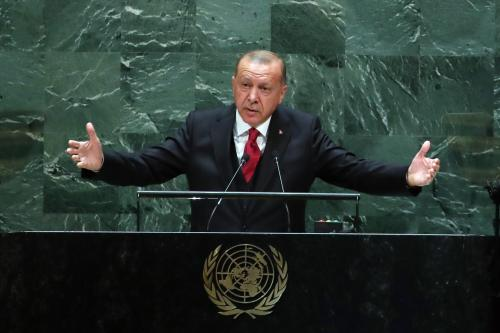 President of Turkey, Recep Tayyip Erdogan delivers a speech at the 74th session of UN General Assembly in New York, United States on 24 September, 2019 [Murat Kula/Anadolu Agency]