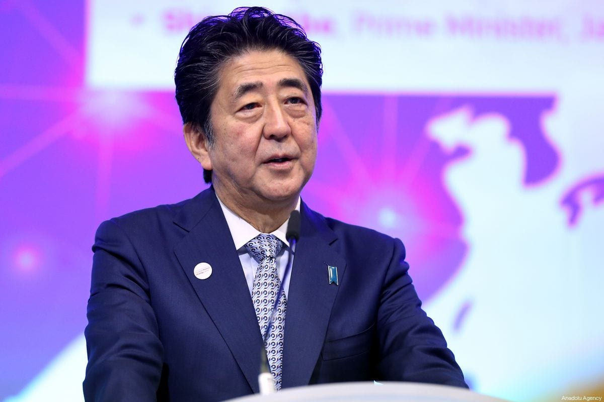 Japanese Prime Minister Shinzo Abe makes a speech at the EU - ASIA Connectivity Forum in Brussels, Belgium on 27 September 2019. [Dursun Aydemir - Anadolu Agency]