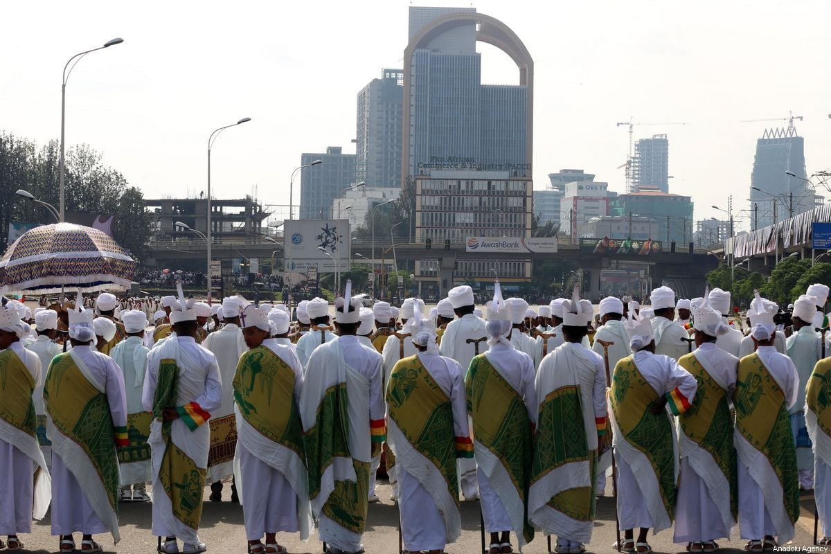 Priests attend the Meskel festival at Meskel Square in Addis Ababa, Ethiopia on 27 September 2019. [Minasse Wondimu Hailu - Anadolu Agency]