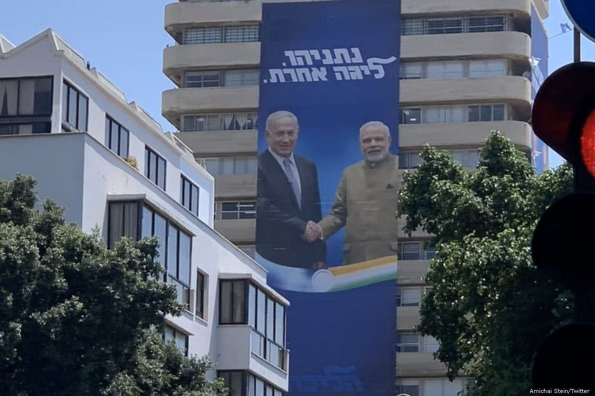 An election billboard by Benjamin Netanyahu's Likud party, showing Netanyahu with Indian Prime Minister Narendra Modi in Tel Aviv on 28 July 2019 [Amichai Stein/Twitter]
