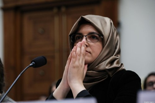 The fiancee of murdered Saudi Arabian journalist Jamal Khashoggi Hatice Cengiz during the session of US House of Representatives Committee on Foreign Affairs Human Rights Subcommittee [Yasin Öztürk/Anadolu Agency]