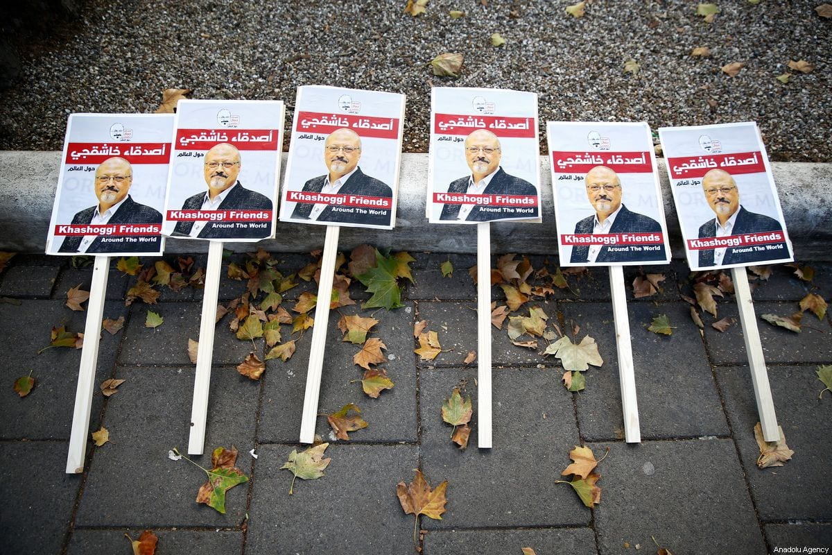 Photos of Saudi journalist Jamal Khashoggi during a protest demanding the finding of his body from the Consulate General of Saudi Arabia, in front of the Saudi Arabian Embassy in London, United Kingdom [Nevzat Yıldırım/Anadolu Agency]