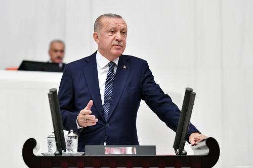Turkish President Recep Tayyip Erdogan delivers a speech during the opening of third legislative session of the Turkish parliament's 27th term on 1 October 2019 at the Grand National Assembly of Turkey (TBMM) in Ankara, Turkey. [Turkish Presidency / Handout - Anadolu Agency]